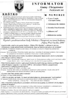 Informator Gminy Chrząstowice 2001, nr 15.