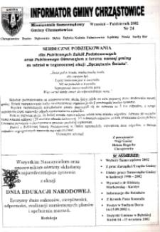 Informator Gminy Chrząstowice : miesięcznik samorządowy gminy Chrząstowice 2002, nr 24.
