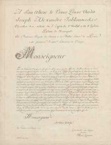 A Son Altesse le Prince Prusse Vindes Joseph Alexandre Jabłonowski[...] (karta dedykacyjna)