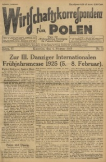 Wirtschaftskorrespondenz für Polen, 1925, Jg. 2, nr 11