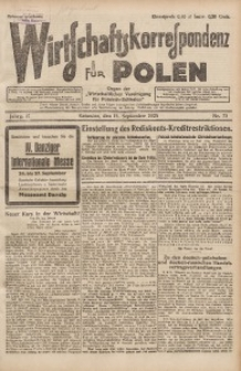 Wirtschaftskorrespondenz für Polen, 1925, Jg. 2, nr 73