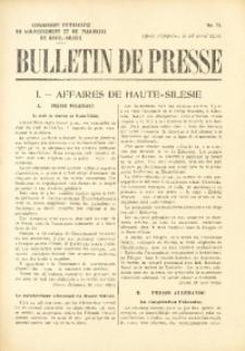Bulletin de Presse, 1920, No. 71