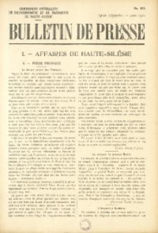 Bulletin de Presse, 1921, No. 405