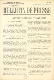 Bulletin de Presse, 1921, No. 422