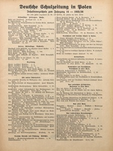 Deutsche Schulzeitung in Polen, 1935/1936, Jg. 16, Inhaltsverzeichnis