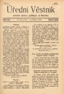 Úřední Věstník Zemské Správy Politické ve Slezsku, 1927, Čís. 7