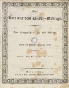 Der Bote aus dem Riesen-Gebirge, 1849, Jg. 37, Nr. 1