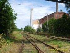 Baborów. Widok z dworca kolejowego na budynek Cukrowni.