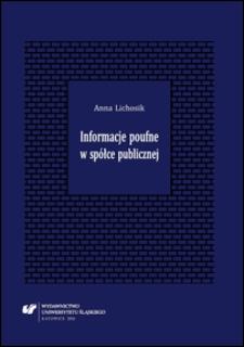 Informacje poufne w spółce publicznej