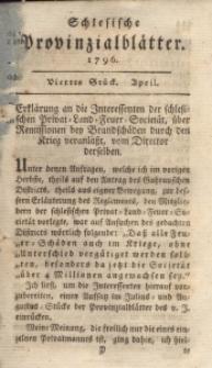 Schlesische Provinzialblätter, 1796, 23. Bd., 4. St.: April