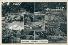 """Głubczyce Las. Pocztówka wielopolowa przedstawiająca """"Wilczy Staw"""", przystań łódek oraz ogródek restauracji leśnej."""