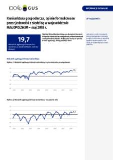 Koniunktura gospodarcza, opinie formułowane przez jednostki z siedzibą w województwie małopolskim - maj 2018 r.