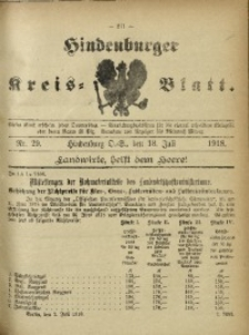 Hindenburger Kreis-Blatt, 1918, Nr. 29