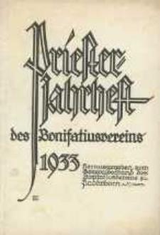 Priester Jahrheft des Bonifaciusvereins. Herausgegeben vom Generalvorstand des Bonifatiusvereins zu Paderborn. Jg. 8.
