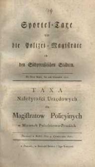 Sportel-Taxe für die Polizei-Magistratäte in Südpreussischen Städten [...] = Taxa Należytności Urzędowych dla Magistratow Policyinych w Miastach Południowo-Pruskich. Datowana w Berlinie dnia 4. Czerwca 1801 roku