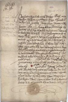 Pismo Adama Borka z Rostropic, starosty ziemskiego księstwa cieszyńskiego z 1.06.1660 r. do szlachty, wzywające do przedłożenia dokumentów uprawniających do prowadzenia karczem w miejscowościach, na które rozciąga się przywilej piwny Cieszyna