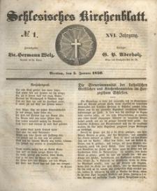 Schlesisches Kirchenblatt, 1850, Jg. 16, nr 1