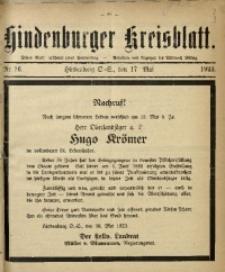 Hindenburger Kreisblatt, 1923, Nr. 16