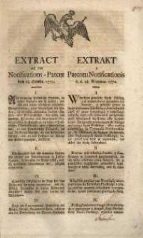 Extract aus dem Notifications-Patent vom 28. Septbr. 1772 = Extract z Patentu Notificationis d.d. 28 Września 1772