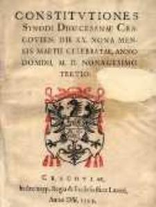 Constitutiones synodi dioecesanae Cracovien[sis], die XX. nona mensis Martii celebratae, anno Domini M.D. nonagesimo tertio
