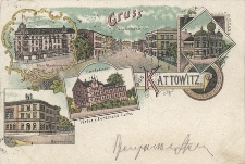 """""""Gruss aus Kattowitz. Max Wachsmann. Grundmann Str. Synagoge. Gymnasium. Städt. Badehaus"""""""