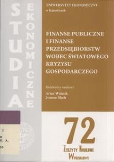Finanse publiczne i finanse przedsiębiorstw wobec światowego kryzysu gospodarczego