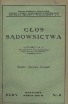 Głos Sądownictwa, 1933, R. 5, nr 3