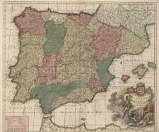 Novissima et Accuratissima Regnorum Hispaniae et Portugalliae Tabula Auctore F. de Witt