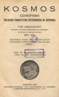 Kosmos, Tom Jubileuszowy (1875-1925), cz. 1