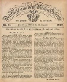 Der Bote aus dem Riesen-Gebirge, 1858, Jg. 46, Nr. 74