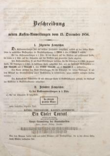 Beschreibung der neuen Kassen-Anweisungen vom 15. December 1856