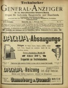 Technischer General-Anzeiger für den Oberschlesischen Industrie-Bezirk, 1911, Jg. 17, No. 9