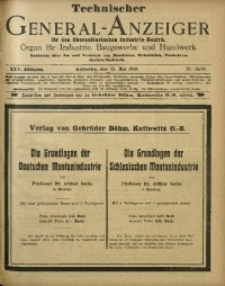 Technischer General-Anzeiger für den Oberschlesischen Industrie-Bezirk, 1919, Jg. 25, No. 15/16