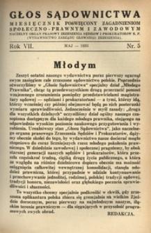 Głos Sądownictwa, 1935, R. 7, nr 5