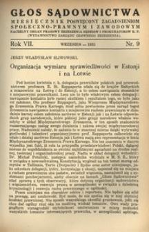 Głos Sądownictwa, 1935, R. 7, nr 9