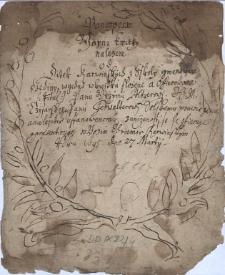 Ponegperw yarni kwitky nalezene od Ditek Karwinskych z Sskoly gmenowane dzediny, w gedno w kwitku slozene a offierowane (:titul:) Panu G[i]rzymu Poltzerowi J.C.M. Czysarskemu Panu Ferwalterowi Solskemu prawie gemu a nalezitie ustanowenemu, z unizenosti se je offieruge a praesentiruge w Bozim Chramie Karwinskym roku 1695, dne 27 Martii