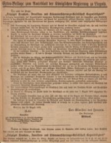 Extra-Beilage zum Amtsblatt der Königlichen Regierung zu Liegnitz