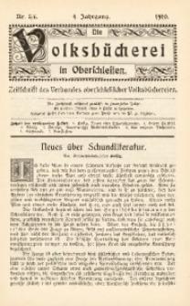 Die Volksbücherei in Oberschlesien, 1910, Jg. 4, Nr. 5/6