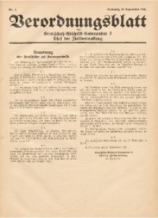Verordnungsblatt des Grenzschutz-Abschnittskommandos 3, Chef der Zivilverwaltung, 1939, Nr. 3