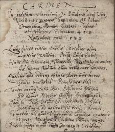 Carmen in reditum clarissimi & prudentissimi Viri Nobilitatis genneri, Sapientia et Pietate Ornatissimi Domini Caspari Andrea ab Oebleben. Teschinium 4 die Novembris anni 1583