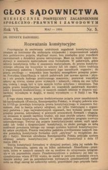 Głos Sądownictwa, 1934, R. 6, nr 5