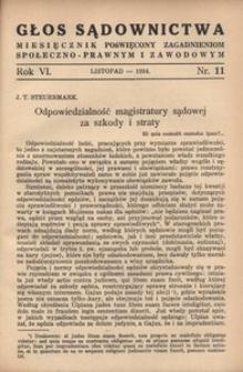 Głos Sądownictwa, 1934, R. 6, nr 11