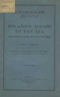 Poland's access to the sea and the claims of East Prussia