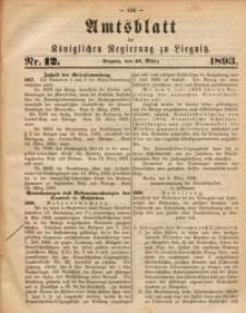 Amts-Blatt der Königlichen Regierung zu Liegnitz, 1893, Jg. 83, Nr. 12