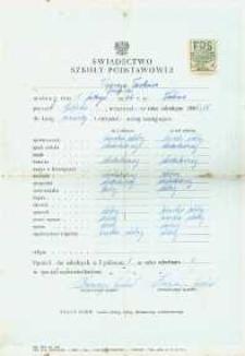 Tadeusz Węgrzyn : świadectwo ukończenia klasy IV szkoły podstawowej.