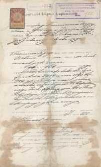 Kontrakt kupna sprzedaży zawarty pomiędzy Kazimierzem Węgrzynem i Józefem Węgrzynem z 1908 r.