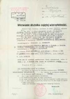 Wezwanie dłużnika zajętej wierzytelności z 1935 r.