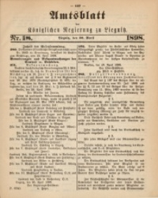 Amts-Blatt der Königlichen Regierung zu Liegnitz, 1898, Jg. 88, Nr. 18