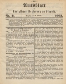Amts-Blatt der Königlichen Regierung zu Liegnitz, 1903, Jg. 93, Nr. 41