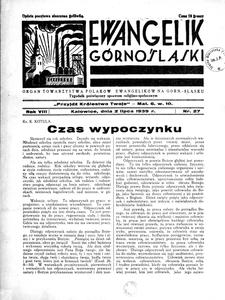Ewangelik Górnośląski, 1939, R. 8, nr 27